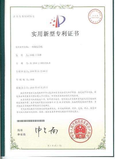 充气芯模专利证书